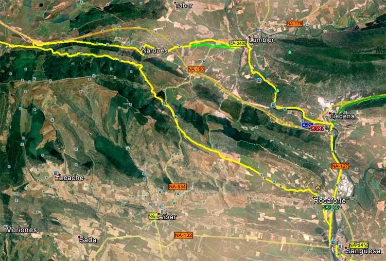 Trazado del Camino de Santiago Aragonés (sur) y su variante (norte)