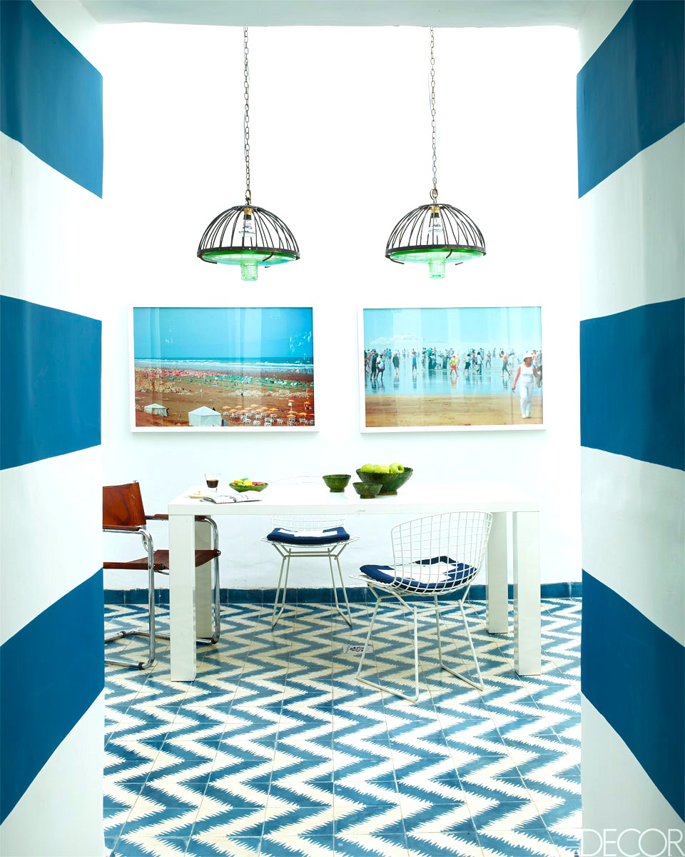 Stripes chevron together fearless decor part 2 for Blue and white cement tile