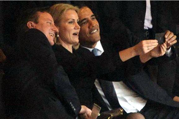 Greenlee Gazette Mandela Funeral Spawns Two Faux Controversies - David cameron tweets phone obama selfie celebrities create parodys