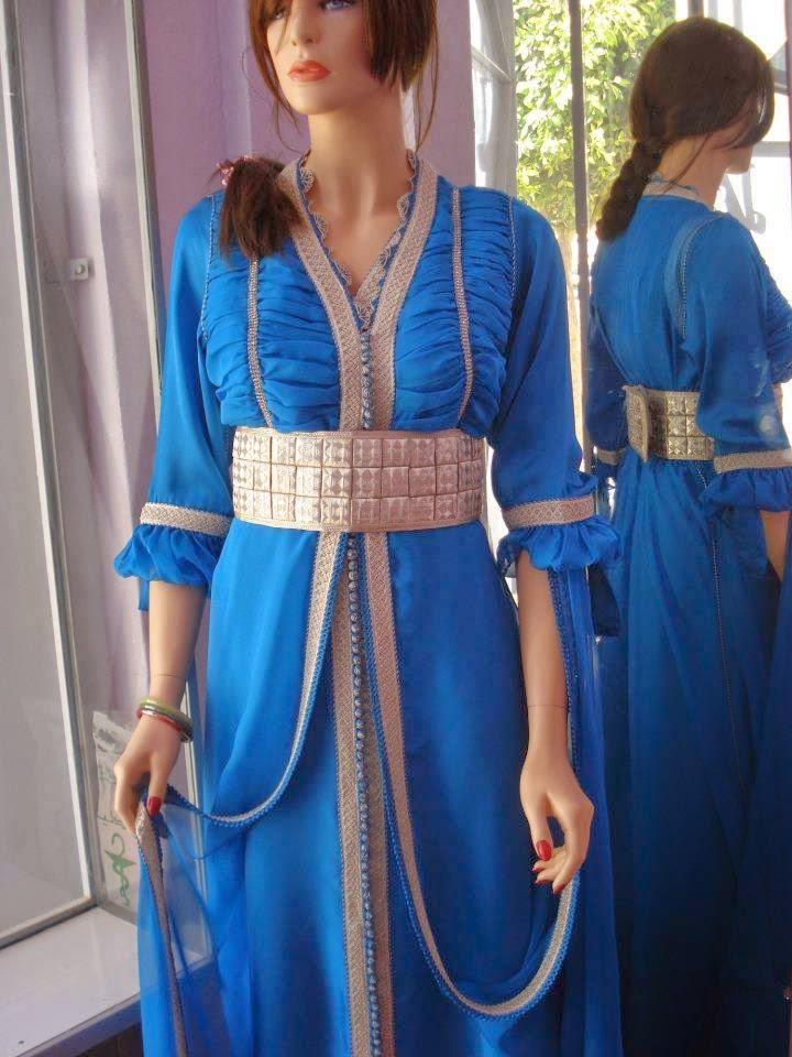 Caftan haute couture bleu roi
