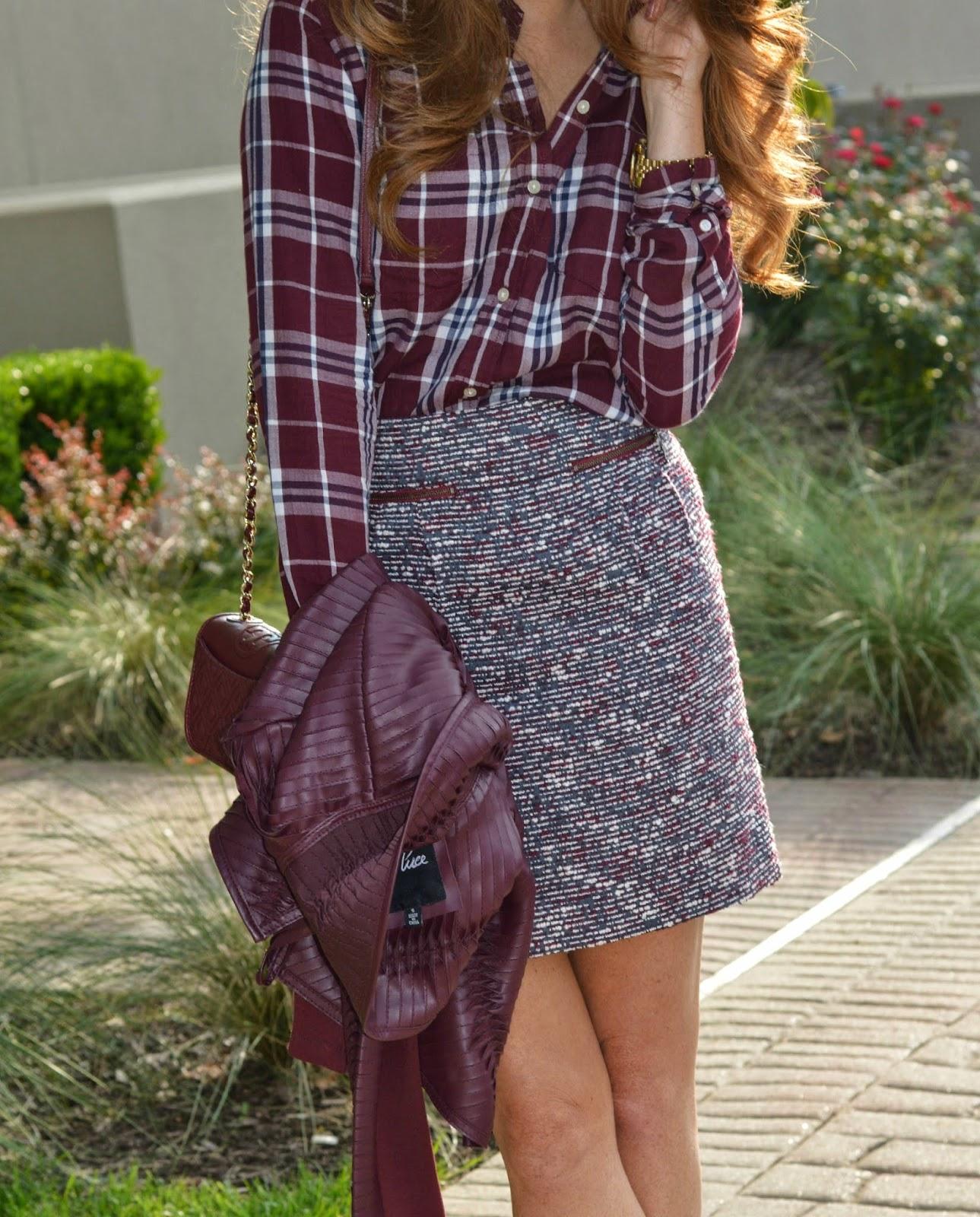 Ann Taylor Loft Tweed Skirt  Plaid Shirt