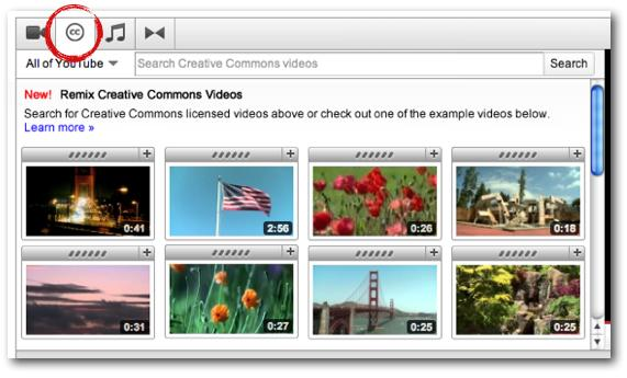 YouTube editor Creative Commons videos