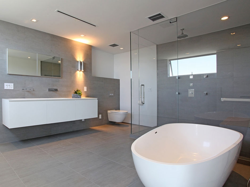Bathroom in Sharp modern home on Sunset Strip