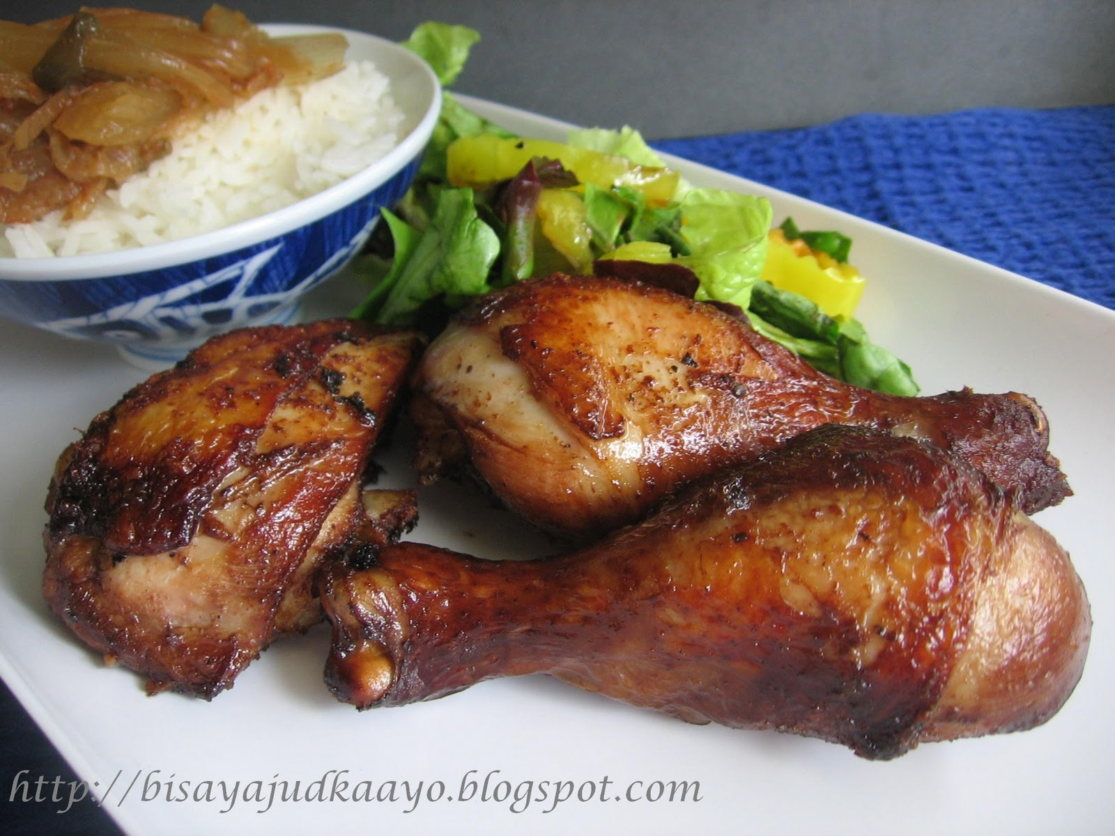 Tea Brined Chicken served with salad and steamed rice topped with ...