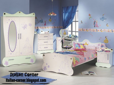 cinderella theme for girls bedroom with modern italian furniture and