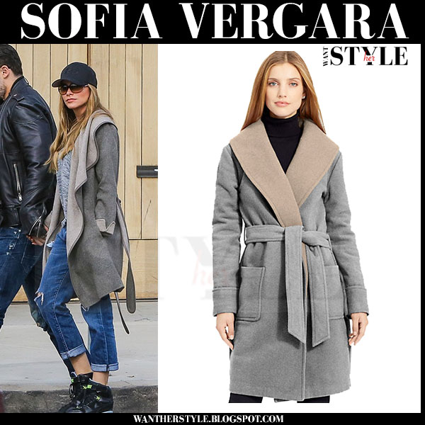 Sofia Vergara in grey wool wrap coat from Ralph Lauren what she wore streetstyle