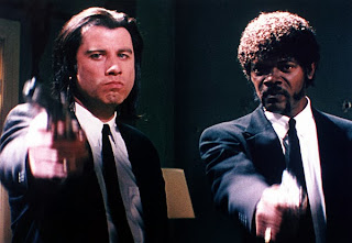 John Travolta and Samuel L. Jackson in Pulp Fiction, Directed by Quentin Tarantino