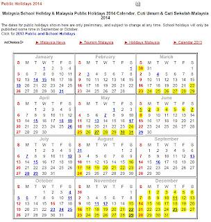 KALENDER CUTI UMUM DAN CUTI SEKOLAH SESI 2014