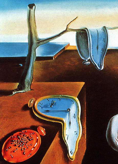 "A close-up detail of Salvador Dali's painting, ""The Persistence of Memory"" shows melting clocks and illustrates how one's life slips away while serving the borg called ntcc."