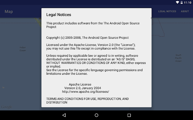 Display Legal Notices For Google Maps Android Api V2 On Options Menu