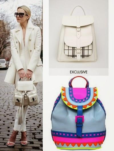 Mochilas, sacos e malas 2015 com franjas brancas pretas