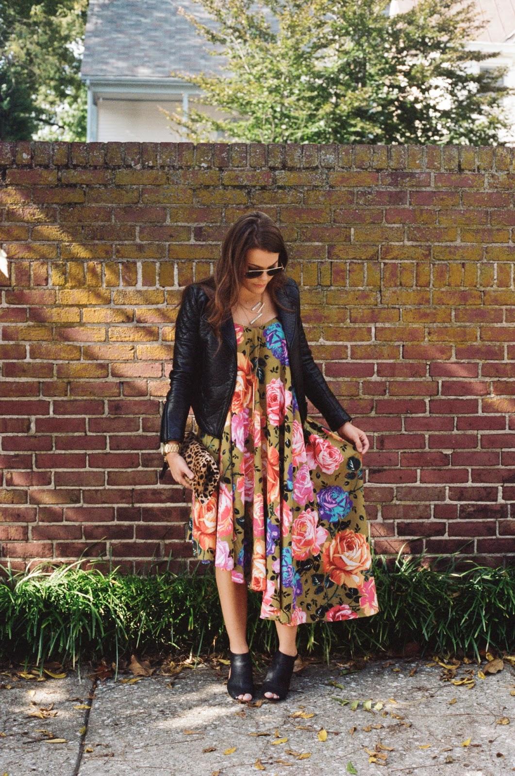 Floral Dress, Leather Moto Jacket, Peep Toe Booties
