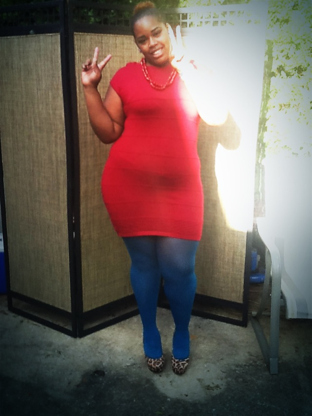 b59999589eea So this outfit is my consist of my Thrifted little Red Dress that I love!!  Blue Tights (Target )  8