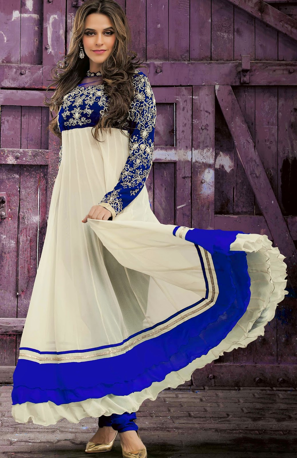 Faux Georgette Cream Designer Embroidery Anarkali Suit with Dupatta