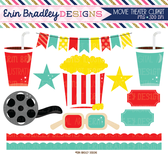 Erin Bradley Designs: Movie Theater Clipart & Digital Papers: erinbradleydesigns.blogspot.com/2014/07/movie-theater-clipart...
