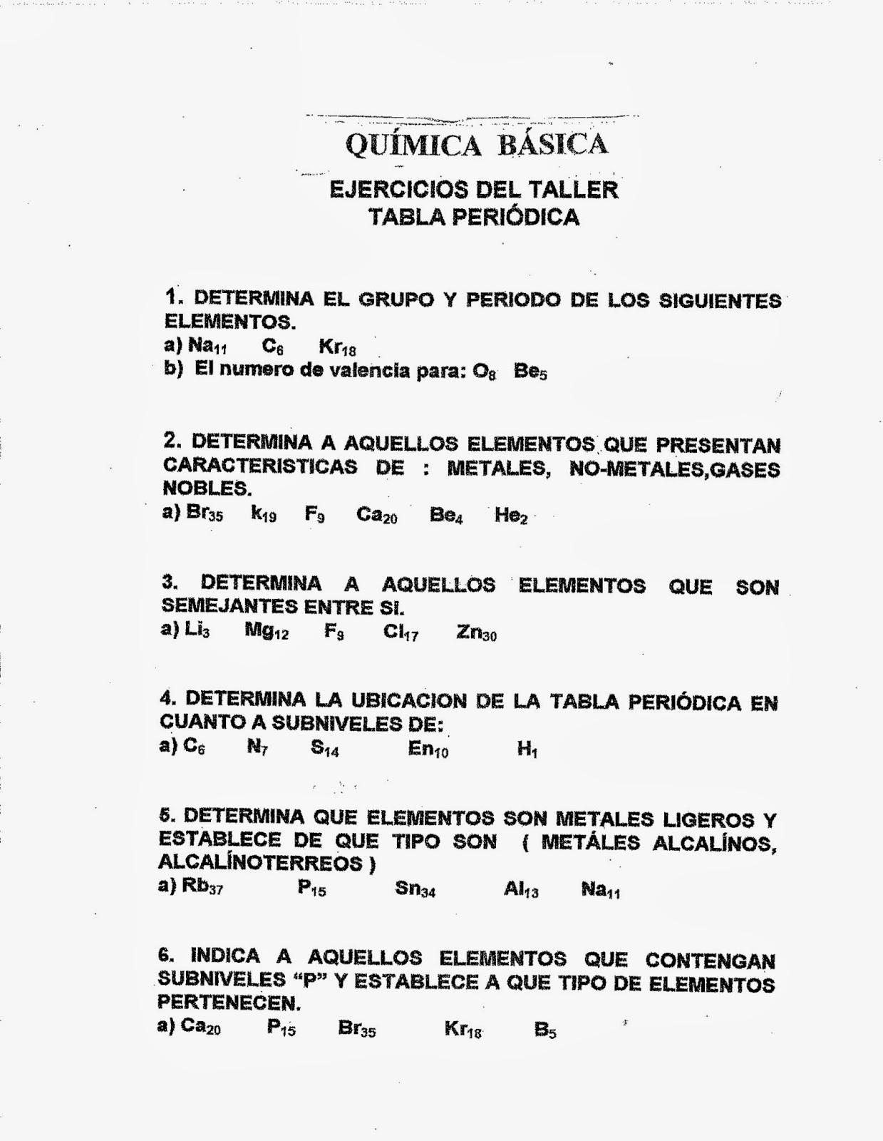 Quimica basica 2015 ejercicios de tabla periodica ejercicios de tabla periodica urtaz Image collections