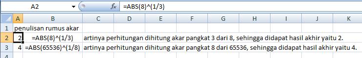 Cara Menghitung Bilangan Pangkat Dan Akar Pada Excel 2007 Info Excel Blog