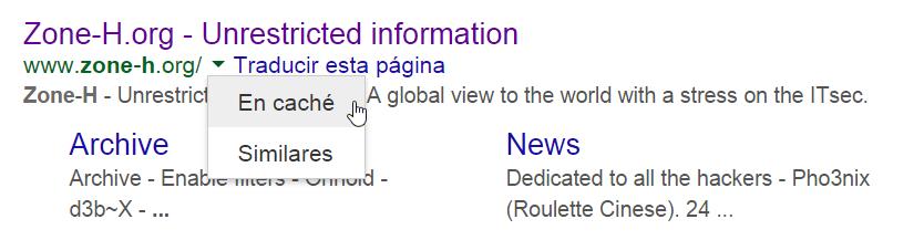 La copia en caché de una página guardada en Google