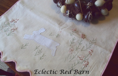 Eclectic Red Barn: Pink Easter table runner with flowers and a bunny