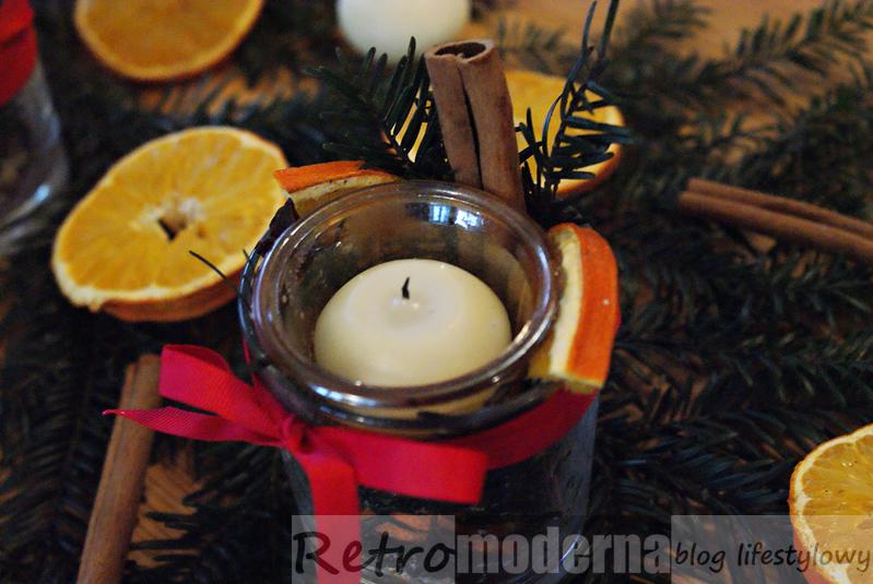 Świąteczne dekoracje na stół świeczniki DIY