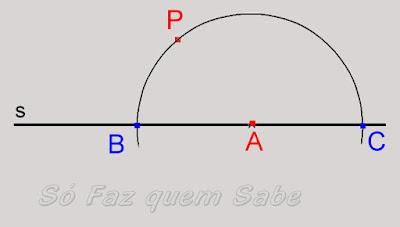 Construção de uma semicircunferência com centro no ponto A da reta e que cruza essa reta em dois outros pontos. B e C.