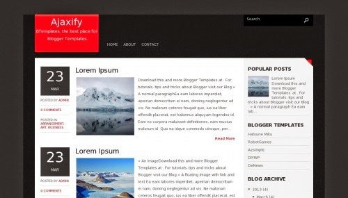 Ajaxify - Free Blogger Template