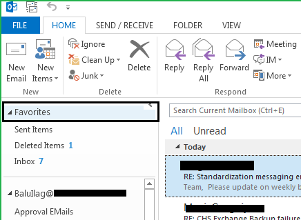 how to add favorites in outlook 2010