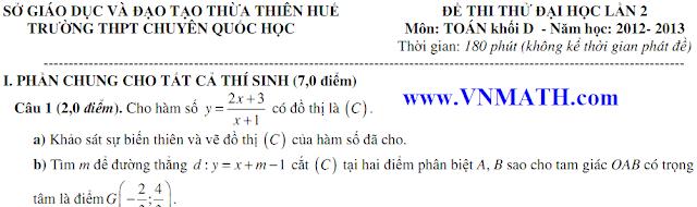 de thi thu lan 2 mon hoa 2013 quoc hoc hue, thi thu mon ly lan 2 quoc hoc 2013