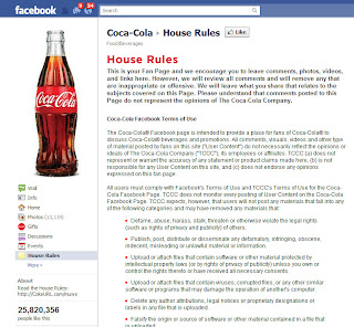 Facebook Fan Page Guidelines or House Rules: Coca-Cola