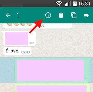 WhatsApp- selecionar mensagem e ver informações