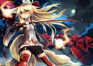 Katana Anime Ears Tail Orbs Blonde Hair Girl Female Anime HD Wallpaper Desktop PC Background 2015