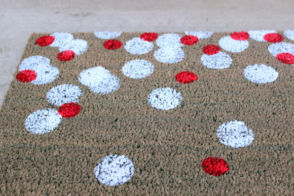 I used the smaller circle sponge for red, and a few less polka dots than in white.