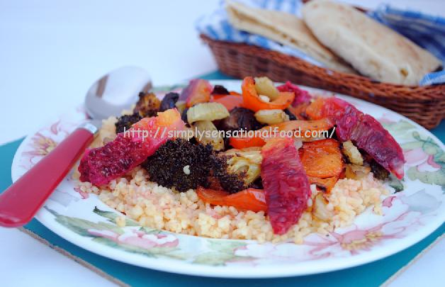 ... hot roasted vegetables with couscous spicy steak with roasted