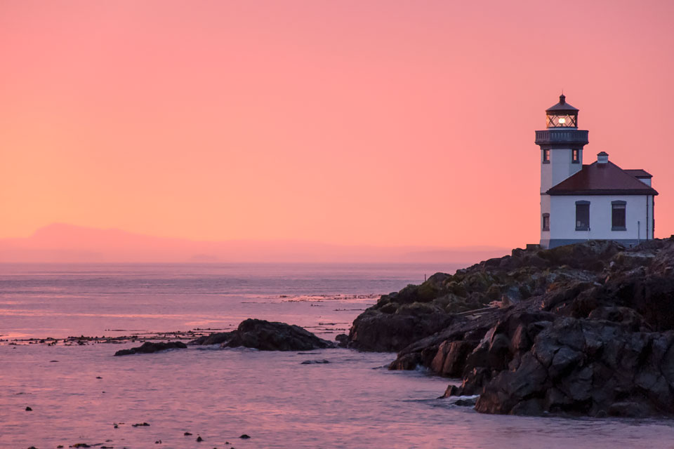 Sunset at the Lime Kiln Lighthouse in Lime Kiln Point State Park.