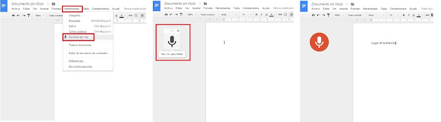 Secuencia escritura por voz Google Docs