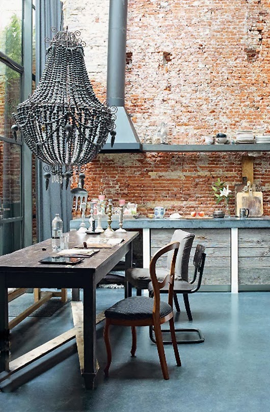 Rustic beauty of a brick wall kitchen for The brick kitchen tables