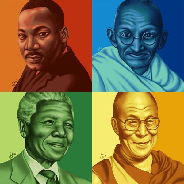 Martin Luther King, Gandhi, Nelson Mandela, Dalai Lama
