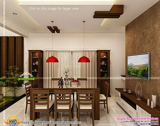 Luxury interior designs in kerala for Dining room designs kerala