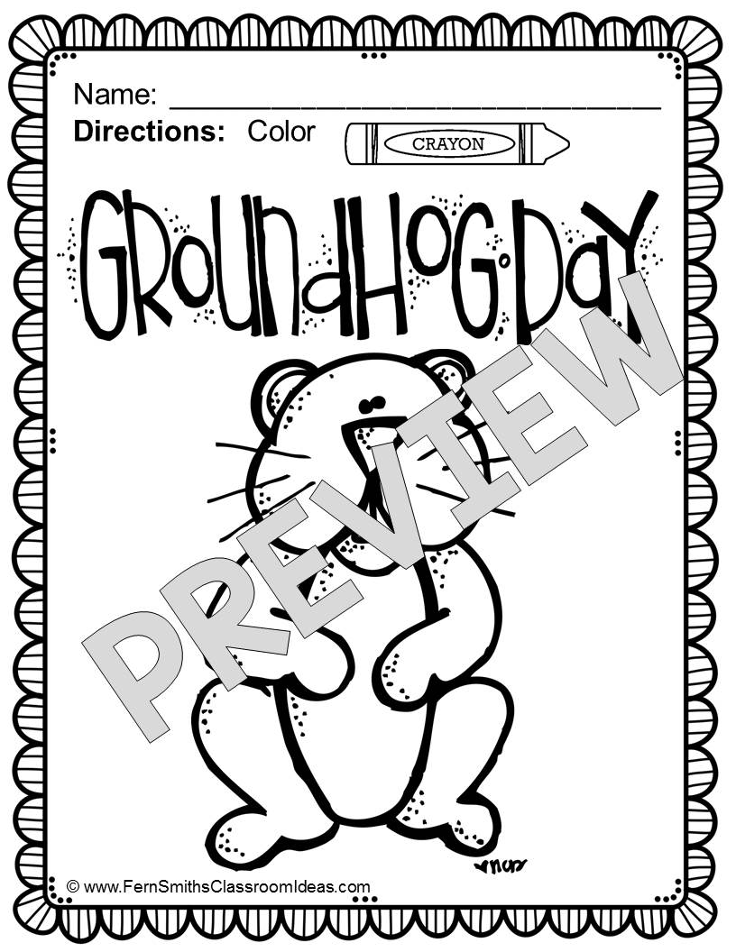 Fern Smith's Classroom Ideas FREE Groundhog Day Fun! One Color For Fun Printable Coloring Page