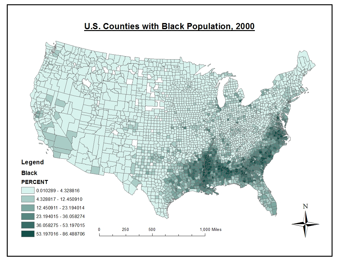 map 1 u s counties with black population