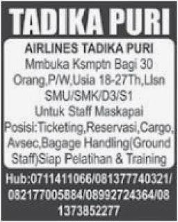 Loker Staf Maskapai AIRLINES TADIKA PURI