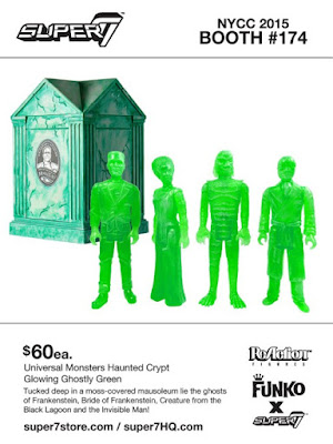 "New York Comic Con 2015 Exclusive Universal Monsters ""Glowing Ghostly Green"" Haunted Crypt ReAction Figure Set by Super7 - Frankenstein, Bride of Frankenstein, The Creature from the Black Lagoon & the Invisible Man"