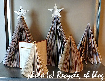The art of up cycling diy christmas decoration ideas for Christmas tree made from old books