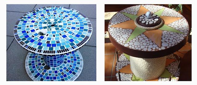 Como hacer una mesa auxiliar con una bobina de cable - Mesas con azulejos ...