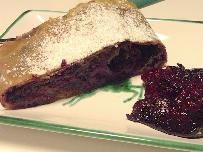 A slice of hand made German - Austrian blueberry strudel