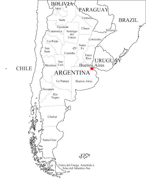 mapa da argentina para imprimir e colorir