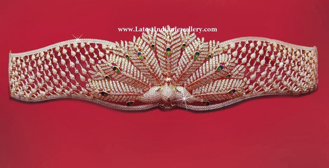 Peacock Design Diamond Waist Belt