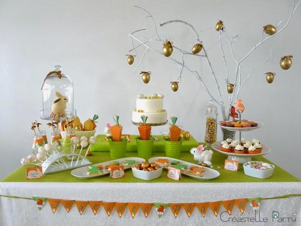 Vue de face Sweet table lapin de Pâques