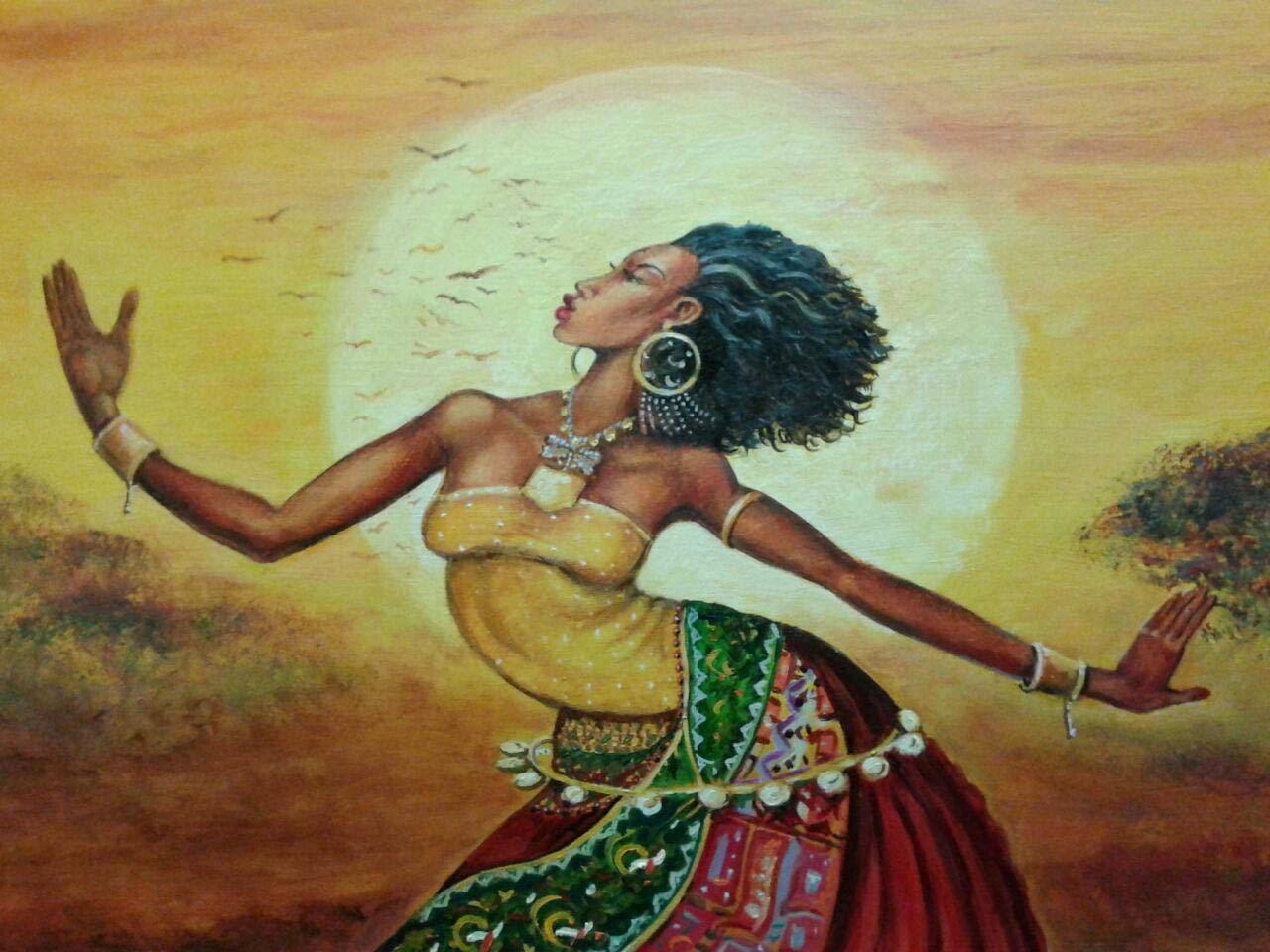 Mujer africana vestido colores pintada al óleo por pintora Rudi