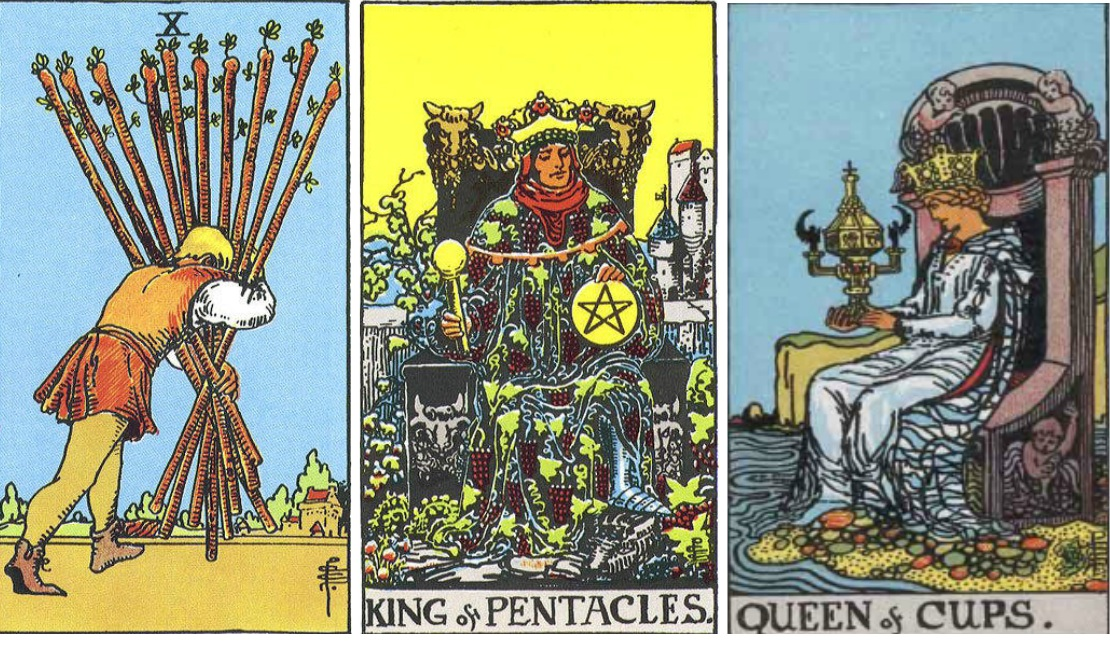 5 of pentacles and queen relationship